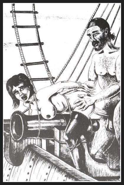 scurvy dog of a pirate fucks a woman tied to a cannon