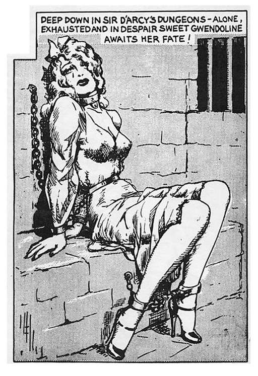 Gwendoline chained in the dungeon