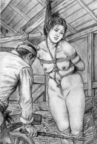 tied up by her hair for a bamboo caning