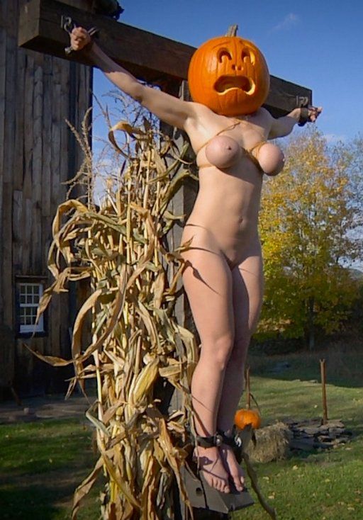 halloween sacrificial pumpkin scarecrow  crucified