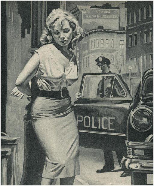 Cop getting out of his car to investigate why some dame is handcuffed to a light pole
