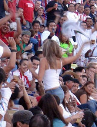 soccar hooligan girl teases the crowd