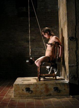 captured schoolgirl in bondage and left to worry