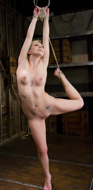 samantha sin stretched in stress position bondage