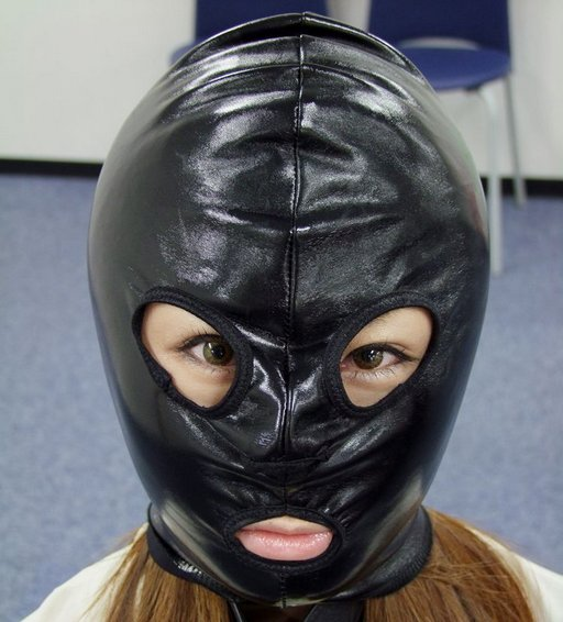 japanese girl in a leather hood