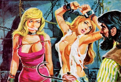 pretty girls in bondage and menaced by a man with a hook