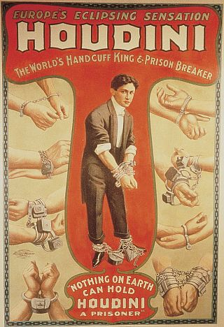 harry houdini poster featuring many sets of handcuffed wrists