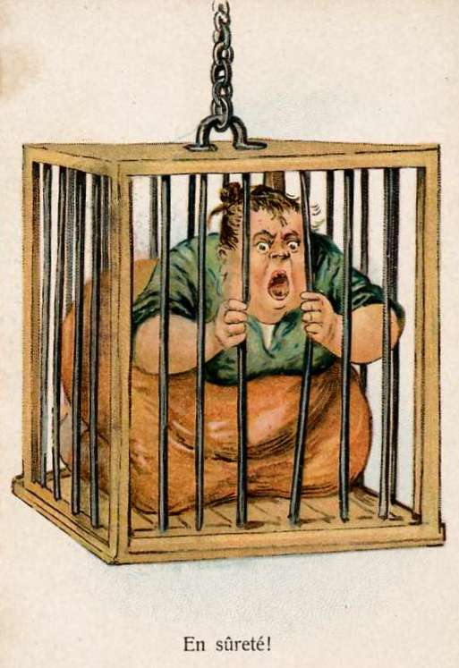 big hungry woman in a creaky wooden hanging cage