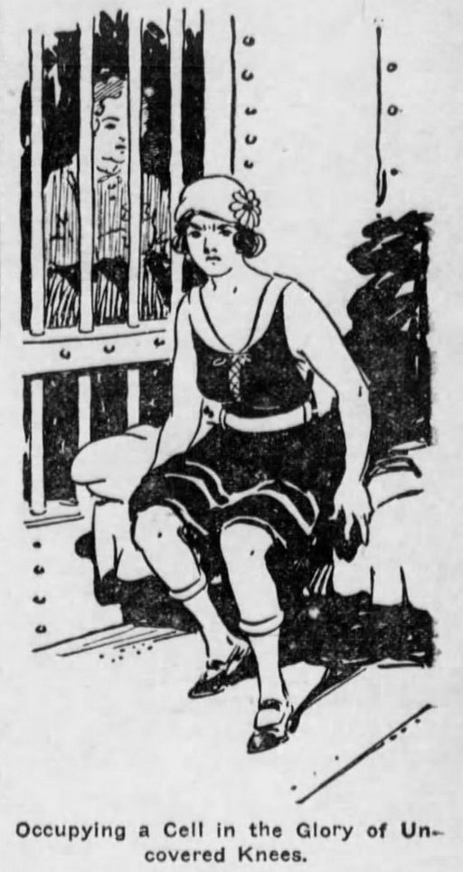 flapper in jail for having rolled down stockings