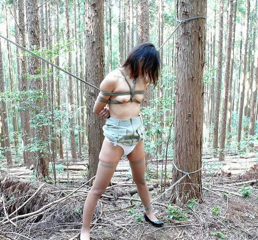 japanese girl tied in a forest