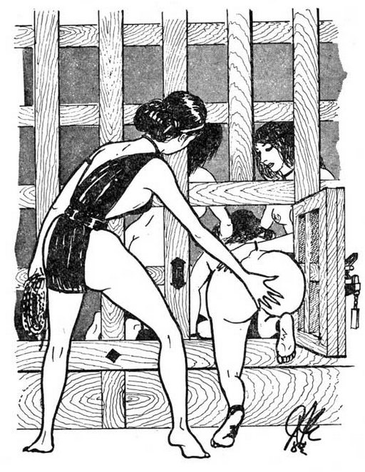 slapping the ass of the prisoner as she enters the cell in a Japanese women's prison