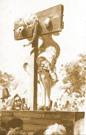 woman in pillory
