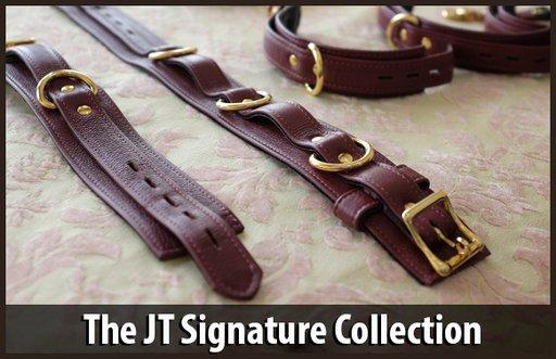Jt signature collection black and gold leather bondage restraints
