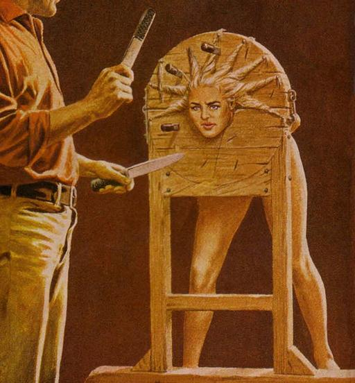 woman in a pillory with her braids being used as targets for a sadistic knife thrower