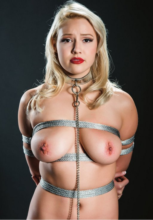 Kylie leashed and tightly bound in rope