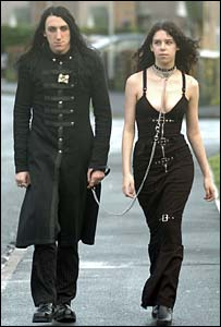 goth girl on a leash