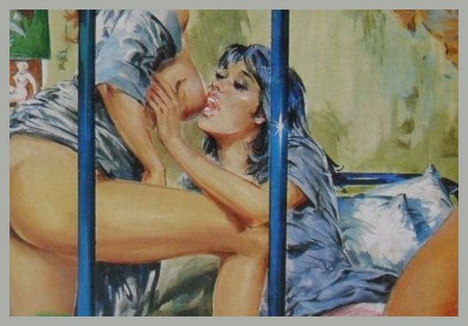 lesbians sucking tit behind bars in a prison cell