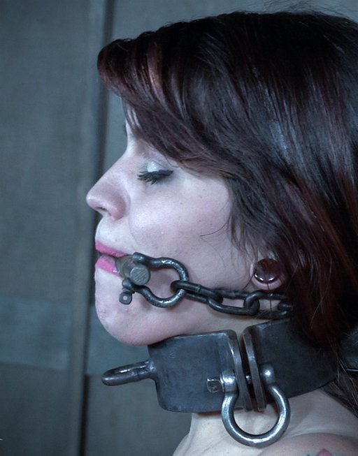 raquel roper wearing a severe iron and steel bit gag