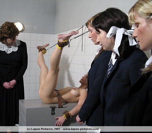 schoolgirls in humiliating bondage exposure and receiving brutal ass beatings