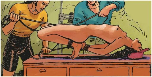 getting hogtied on a table
