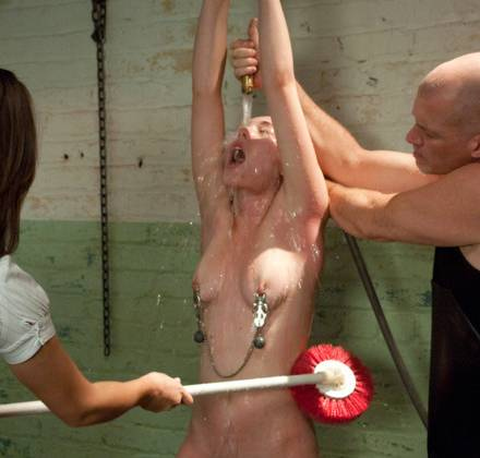 forcibly stripped and showered and scrubbed by sadistic mental hospital orderlies