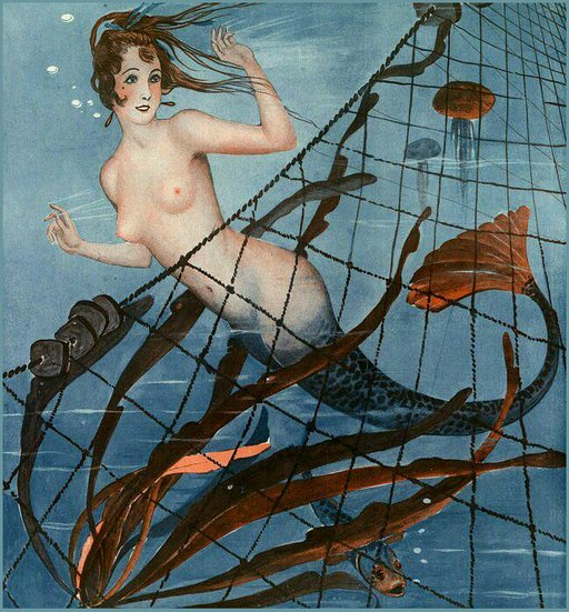 catching a pretty topless mermaid in a net