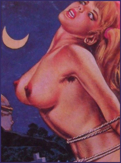 horror fumetti bound girl in church graveyard by moonlight with bare breasts