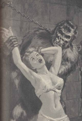 chained nazi ape interrogates pretty girl who is wearing sheer undies