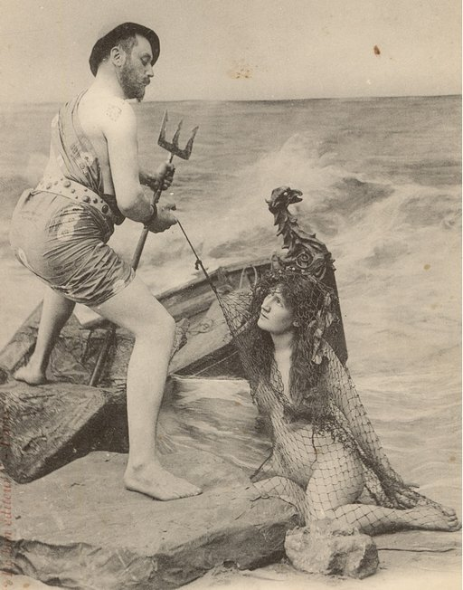 vintage naked woman caught in fisherman\'s net