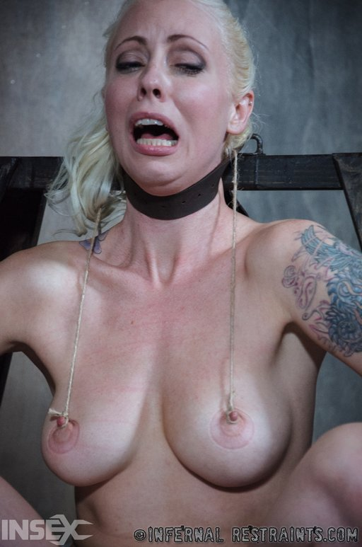 Lorelei Lee cries out as tight strings tug on her sensitive nipples