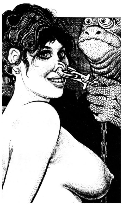 girl being led along by her nose ring by scaley lizard-critters from outer space