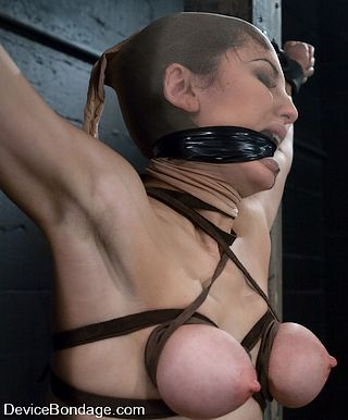 Princess Donna hooded with a nylon stocking and gagged with rubber bondage tape
