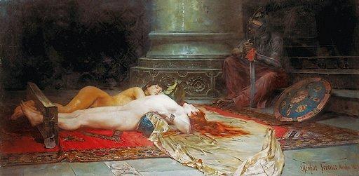 orientalist bondage art painting Before Punishment: two naked harem slaves locked in wooden stocks waiting for falaka foot caning punishment