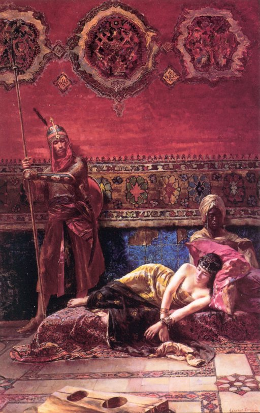 orientalist bondage art: The Pasha's Concubine with chained wrists