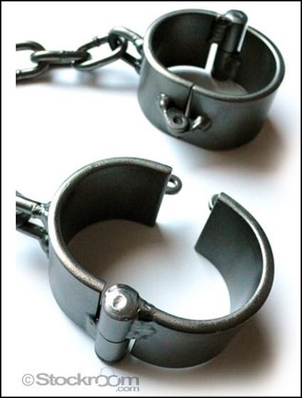 steel bondage wrist shackles from The Stockroom