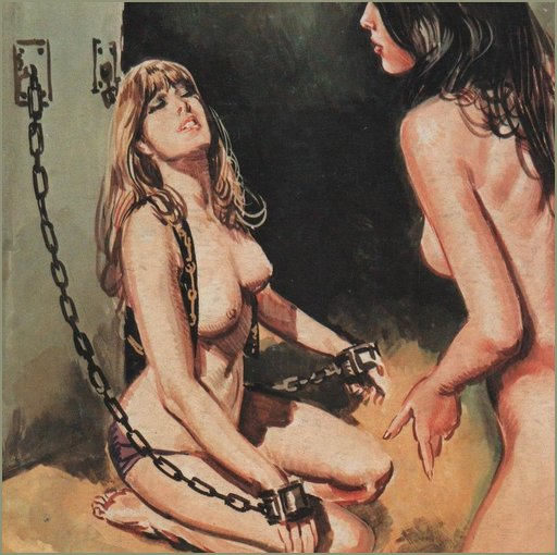 chained woman with panties on
