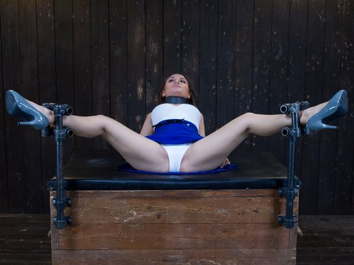 legs wide in bondage, panties still on