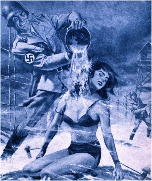 nazi interrogating a female partisan by pouring cold water on her during a blizzard