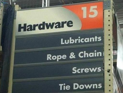 bdsm sex toys at your local hardware store