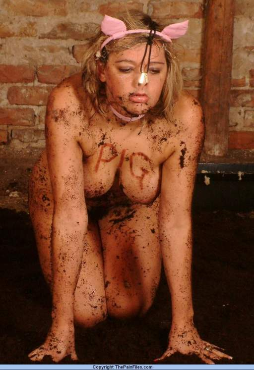 pig girl covered in dirt