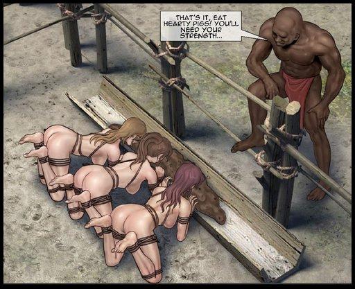 bondage pig girls eating slop from a hog trough