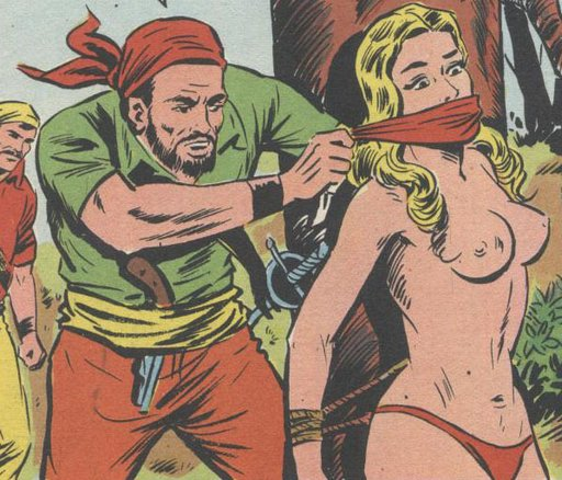 pirates gagging a bare-breasted blonde captive tied to a tree