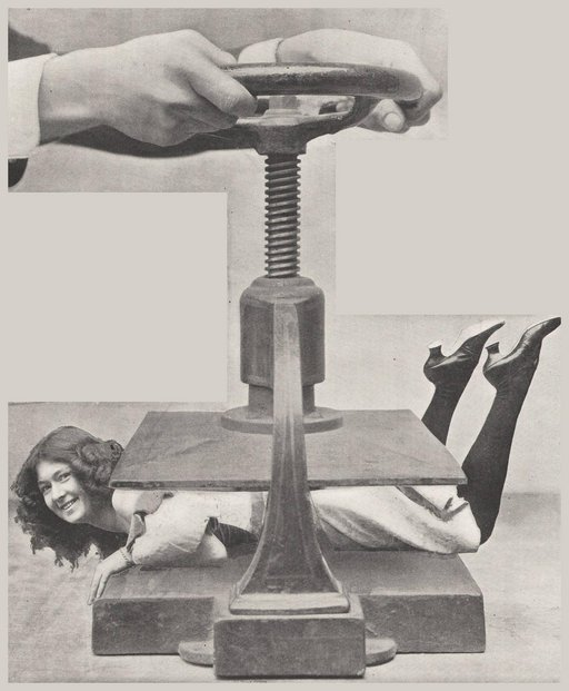 shop girl being compressed in an industrial screw press