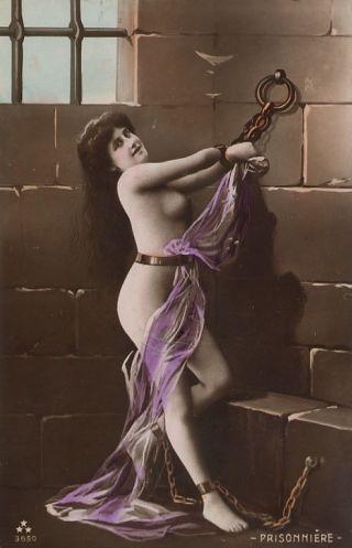 vintage women in prison bondage french postcard