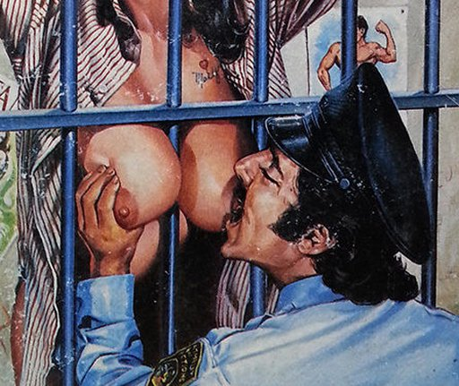 biting the prisoner's tits as she's forced them through the bars