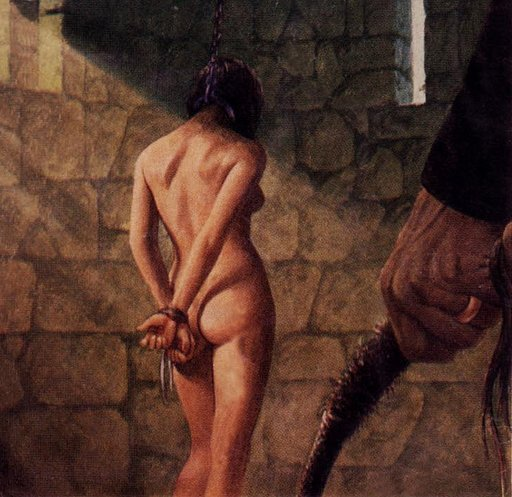 woman chained in a stone dungeon about to receive a harsh whipping