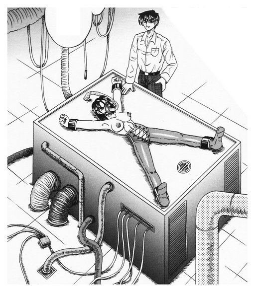 manga procedure on a complicated industrial medical bondage table