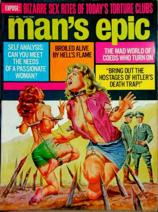 chained on the cover of Man\'s Epic magazine