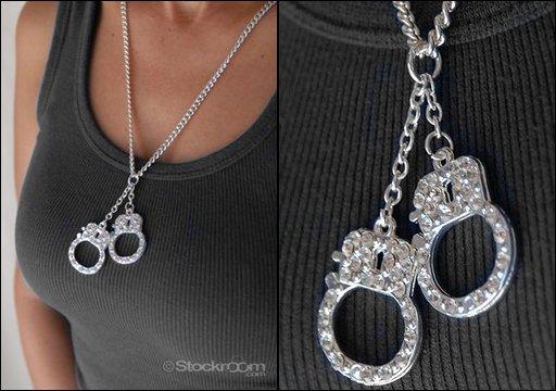 rhinestone handcuffs pendant necklace