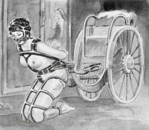 bondage pony girl kneeling in front of a rickshaw